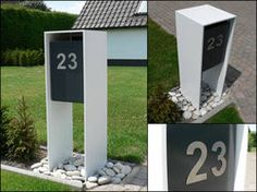 Letterbox and house number Mailbox Landscaping, Modern Landscaping, Mcm House, Facade House, Home Mailboxes, Modern Mailbox, Box Houses, Interior Design Living Room, Interior Livingroom