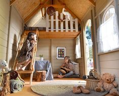 Casas de niños Interior of wooden children's house with TIROL terrace, with bunk bed with ladder and Playhouse Interior, Backyard Playhouse, Outdoor Fun For Kids, Backyard For Kids, Kids Cubby Houses, Play Houses, Tree House Interior, Tree House Plans, Wendy House