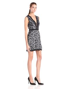 BCBGMax Azria Women's Sirena Scalloped Lace Coctail Dress, Black/White, 10. Sleeveless dress in two-tone floral scroll lace featuring solid banding at waist and scalloped edging. Dolphin hem. Non-stretch fabrication with stretch lining. Slash pockets. Concealed back zipper closure.