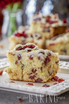 This Cranberry Bliss Coffee Cake Recipe a delicious coffee cake loaded with cranberries, white chocolate, and a cream cheese frosting. A delicious, soft coffee cake with cranberries. Cranberry Cake, Cranberry Recipes, Cranberry Chutney, Rhubarb Recipes, Baking Recipes, Cake Recipes, Dessert Recipes, Muffins, Cupcakes