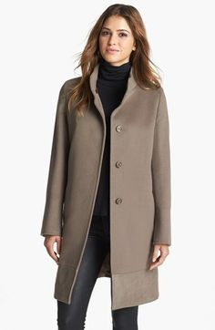 Cinzia Rocca Leather Trim Wool Coat available at #Nordstrom... LIKE!!!