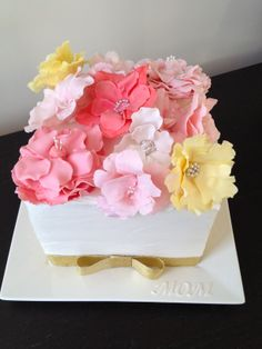 Mothers Day Cake - Cubed Mothers Day Cake with Flowers, Vanilla buttercream frosted, fantasy flowers