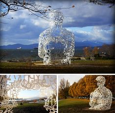 the We sculpture from artist Jaume Plensa is made up of characters from several different alphabets that come together in the shape of a seated human.