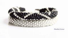 Matt black with white gold handmade bead bracelet see more: https://www.facebook.com/ElmirkasCorner/posts/853170371457050