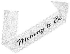 Elegant Lace Mommy to Be Sash (white) – Baby Shower Sash for the Mom to Be – Baby Shower Store