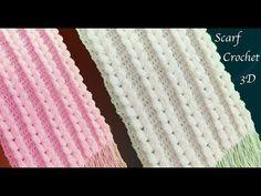 Bufandas tejidas a crochet punto trenzas verticales en 3D tejido tallermanualperu - YouTube