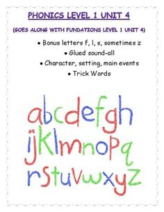 Fundations level 1 unit 4: bonus letters, glued sound -all. I hope you find this resource useful. Use it for morning work, seat work, homework, guided reading phonic practice!Included:--all picture/word match (draw line)--all picture/word match (write word)-bonus letter picture/word match-bonus letter/no bonus letter word sort-bonus letter word cloze sentences-trick word practice/writing sentences-characters/setting/events graphic organizer-trick word matching/memory game-roll, read, and…