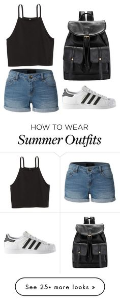 Summer Outfits : Summer Outfit by melissamushayuma on Polyvore featuring LE3NO and adidas