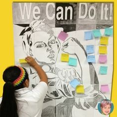 "Rosie the Riveter ""We Can Do It"" collaborative group mural poster. Great activity for developing and displaying ""I can"", growth mindset statements, goal setting or New Years resolutions. Use it at the beginning of a new school year or the beginning of a new year"