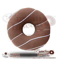 Cuscino Biscotto - Ciambella Glassata / Donuts Marrone3 (Fatto a mano in Italia)