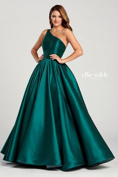 Ellie Wilde EW120033. One shoulder mikado ball gown with a natural waist, strappy back, horsehair hem and a sweep train. Features pockets