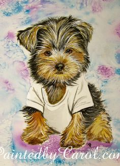Yorkshire Terrier Painting Too Sexy for My by PaintedbyCarol