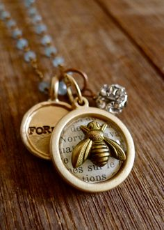 FOREVER BEE MINE  Vintage Bee Charm Wire Wrapped by selinavaughan, $34.00