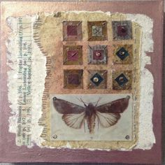 Linda Kemshall:  This collage features my own hand made paper together with text and images which I've waxed and then stitched using hand dyed embroidery threads. It is embellished with tiny, natural shell buttons and mounted onto a wooden panel which measures 10 inches square by 1 inch deep.