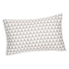 Cojín con motivo de triángulos blanco/gris 30 x 50 cm LENA