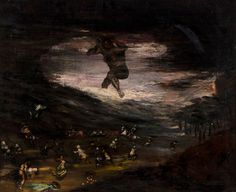 Eugenio Lucas Velazquez (1817-1870), A demon appearing from mist, scattering a crowd, Oil on canvas, 54 x 65 cm