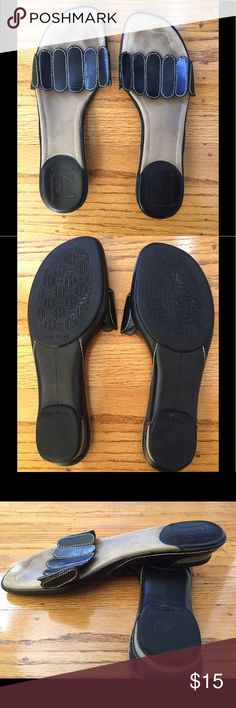 Cole Haan Slides.  Size 8?N Cole Haan slides.  Nike air technology.  I cannot see the size.  I think they are 8N (definitely narrow).  See photo for measurement.  Lovingly worn but lots of miles left in them.  Some scuffs and minor signs of wear (see last photo for example).  Sorry no trades. Cole Haan Shoes Sandals