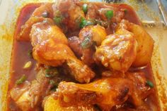 Dakbokkeumtang (spicy braised chicken). Might be as close to green chili and chicken as I can get (in Korea).
