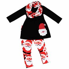 f168d98bc4 christmas outfits matching baby and girls - Unique Baby Girls 3 Piece Christmas  Santa Claus Legging