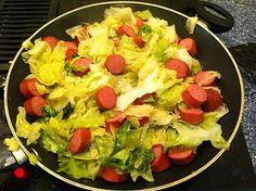 Low Carb, Super Easy Cooked Cabbage and Smoked Sausage