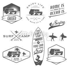 Set of vintage surfing labels, badges and design elements