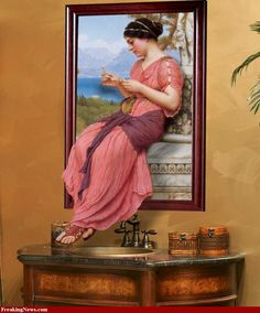 This is a picture OF a picture of someone reading: Le Billet Doux by John William Godward.