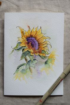Sunflower Watercolor Painted Card Original or by SunsetPeonies Watercolor Pictures, Watercolor And Ink, Watercolour Painting, Painting & Drawing, Watercolors, Simple Watercolor, Watercolor Ideas, Sunflower Art, Watercolor Sunflower