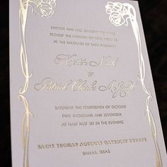 Matte gold foil stamping + art nouveau design + William Morris envelope liner + brushed gold stock with white foil stamping = amazing!  Not only is the brushed gold folding board by @neenahpaper the perfect accent of texture in the suite, the matte gold foil pressed on the Pearl White  @craneandco Lettra is perfect! William Morris, Foil Stamped Wedding Invitations, Invites, Gold Stock, Art Nouveau Design, Foil Stamping, Envelope Liners, Matte Gold, Gold Foil