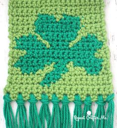 Don't be caught withoutgreen this St. Patrick's Day! ThisCrochet Shamrock Scarf is the perfect accessory! Made up of all SC stitcheswith a shamrock embellishment on the ends made by following the pixel graph provided. Each square in the graph is one single crochet stitch. All you need to do is follow the graph pattern row …