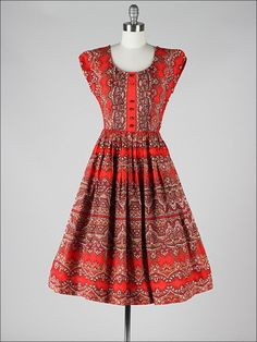 3502 Vtg 50s Red Cotton Paisley Print Scoop Neck Sun Party Dress XS S | eBay