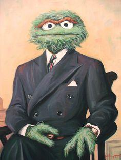 Sir Oscar Grouch by HillaryWhiteRabbit on DeviantArt Big Bird Sesame Street, Green Knight, Oscar The Grouch, Skateboard Design, Street Photo, Tim Burton, Happy Fall, Contemporary Art, Street Art