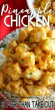 Chinese Pineapple Chicken that is better than any takeout youll find. Perfectly crispy chicken coated in a sweet & tangy pineapple sauce that is phenomenal! Dig in! Pineapple Chicken Recipes, Pineapple Sauce, Pineapple Recipes Indian, Pineapple Dinner Recipes, Yummy Recipes For Dinner, Chicken Recipes For Dinner, Healthy Chicken Dinner, Easy Chinese Recipes, Asian Recipes