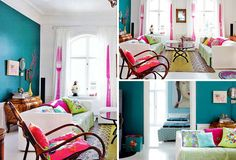 Danish Colors and Patterns: Kind of obsessed with the hot pink fork and knife on the walls here in this one. - 12 Unbelievably Colorful Living Rooms via Brit + Co.