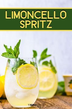 Limoncello Spritz - Perfect Summer Cocktail - Sip and Feast The. - Limoncello Spritz – Perfect Summer Cocktail – Sip and Feast The Limoncello Spr - Limoncello Cocktails, Cocktails Vin, Prosecco Drinks, Easy Cocktails, Refreshing Cocktails, Summer Drinks, Cocktail Drinks, Martinis, Non Alcoholic Drinks With Club Soda