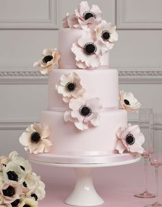 """""""Mariella,"""" chic & contemporary wedding cake with blush pink and peach sugar-crafted Anemones.  from Peggy Porschen."""