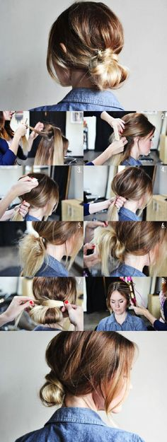 DIY Low Style Bun diy easy diy diy beauty diy hair diy fashion beauty diy diy bun diy style diy hair style diy updo by Emel 5 Minute Hairstyles, Easy Bun Hairstyles, Step By Step Hairstyles, Holiday Hairstyles, My Hairstyle, Hairstyle Ideas, 2014 Hairstyles, Ladies Hairstyles, Hairstyle Tutorials