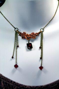 Ravens Bouquet Lush Red Vintage Swarovski Rhinestones Gothic Romance   shadesongs - Jewelry on ArtFire