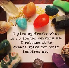 Create more space for what inspires you. I give up freely what is no longer serving me. I release it to create space for what inspires me Positive Energy Crystals Affirmations Positives, Daily Affirmations, Healing Affirmations, Morning Affirmations, I Give Up, What Inspires You, Positive Thoughts, Positive Life, Spirituality