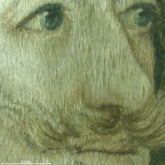 The very fine modeling of the features in this in this embroidered portrait was achieved with silk floss used both un-dyed and dyed in brown blue and black. The floss was slightly twisted into a fine thread, often blending several shades of a color together. Magnification 10x. Image by Cristina Balloffet Carr. Embroidered portrait of Charles I, 1650-1670. British. Silk and metal thread on silk. 6 x 4 1/2 in. (15.2 x 11.4 cm) Purchase, Mrs. Thomas J. Watson Gift, 1939 (39.13.7)