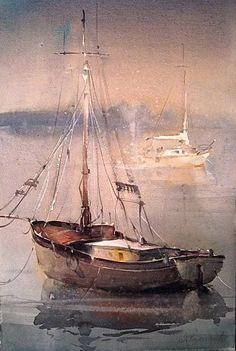Dusan Djukaric, watercolour painting on paper Watercolor Landscape, Watercolor Art, Watercolour Paintings, Boat Art, Nautical Art, Painting Inspiration, Painting & Drawing, Amazing Art, Art Photography