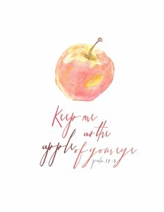 """""""Keep me as the apple of Your eye; Hide me under the shadow of Your wings,"""" Psalms NKJV Thy Word, Word Of God, Bible Art, Bible Verses, Scripture Signs, Apple Quotes, Psalm 17, Joy Of The Lord, Magic Words"""