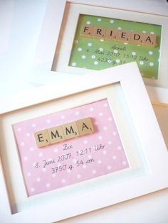 Baby diy name fun 60 ideas Marco Scrabble, Scrabble Frame, Scrabble Art, Scrabble Coasters, Scrabble Kunst, Scrabble Tile Crafts, Baby Crafts, Diy And Crafts, Craft Gifts