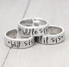 Sisters Rings, Sisters Jewelry, Big Sister Ring, Little Sister Ring, Sorority Sisters, Sisters Gifts, Hand Stamped Rings
