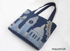 LONDON Women's shoulder bag Denim tote bag with applique Daily carrying bag Stylish jeans big purse Ecofriendly material Recycled blue denim by HandbagShopMaurer on Etsy https://www.etsy.com/listing/585412454/london-womens-shoulder-bag-denim-tote
