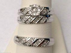 White Gold His Her Mens Woman Diamonds Wedding Ring Bands Trio Bridal Set (0.28ct.tw)- RG221468526304