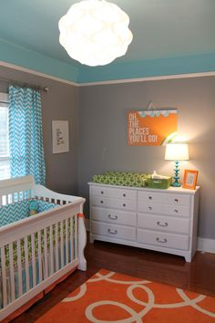 Project Nursery - Bright and Modern Orange, Turquoise, Gray Nursery Room View