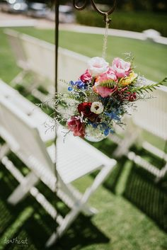 Wedding Aisle Flowers Photographer: Dearheart Photos Venue: Rickety Bridge