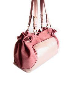 Pink Leather Shoulder Bag Large Satchel Suede Tote Bag Pink Handbag Summer Bag. $159.00, via Etsy.