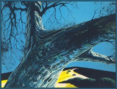 Artist: Eyvind Earle, Style: Magic Realism, Genre: landscape, Themes: valleys-and-hollows Illustrations, Graphic Illustration, Eyvind Earle, Magic Realism, Art Database, Environment Concept Art, American Artists, Online Art Gallery, Beautiful Landscapes