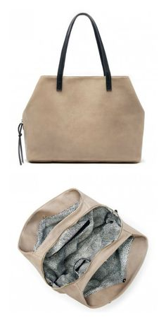 Spacious tote bag with three inside compartments